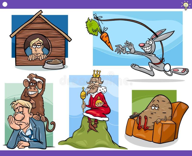 Установленные концепции и идеи шаржа бесплатная иллюстрация