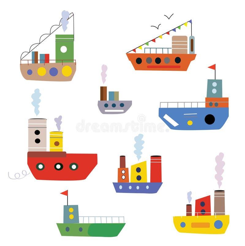 Установленные корабли и шлюпки шаржа бесплатная иллюстрация