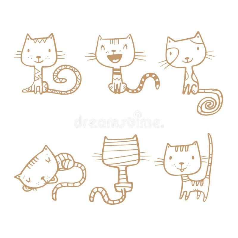 установленные коты шаржа иллюстрация штока