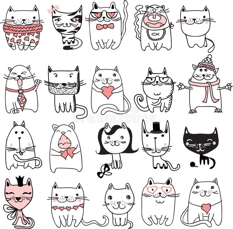 Установленные коты иллюстрация штока