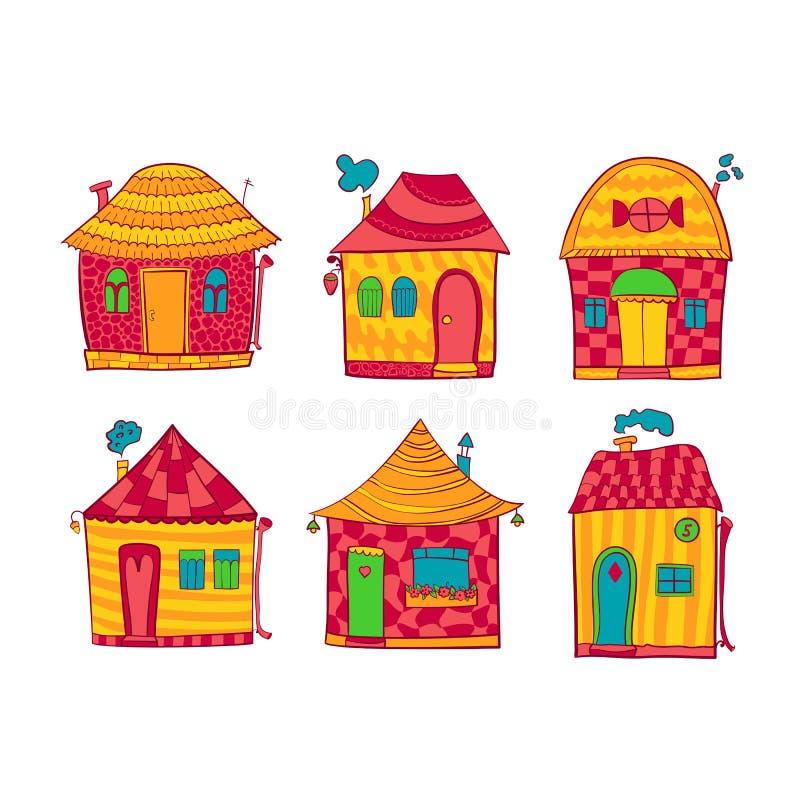 Установленные красочные дома в стиле шаржа иллюстрация штока