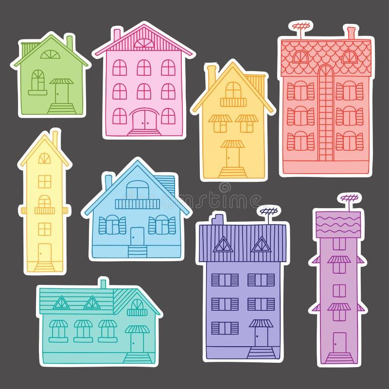 Установленные красочные дома иллюстрация вектора