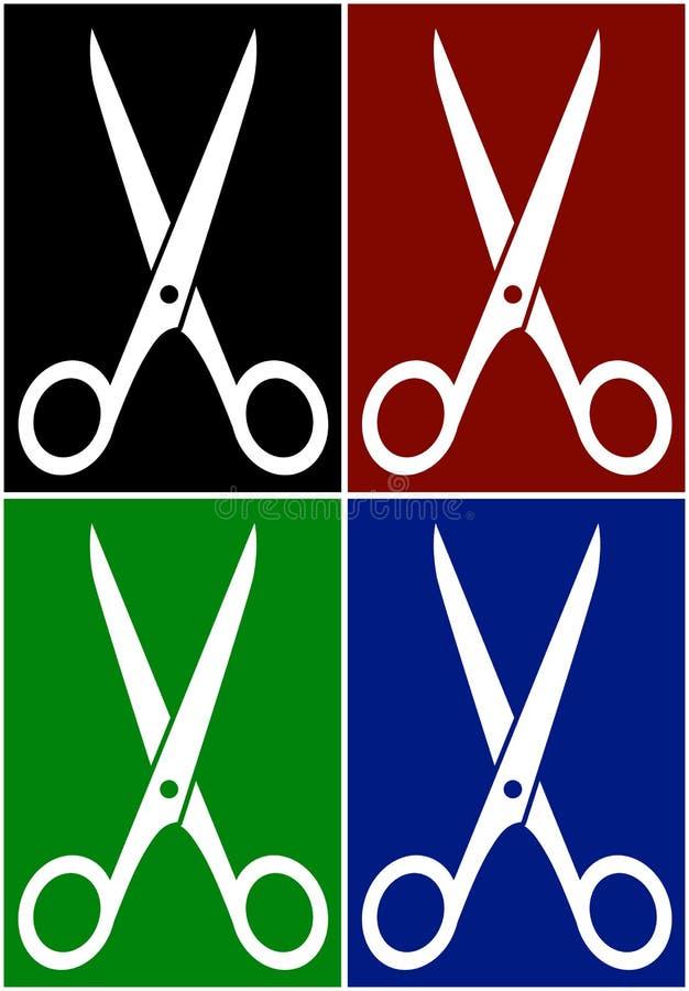Установленные красочные предпосылки с ножницами бесплатная иллюстрация