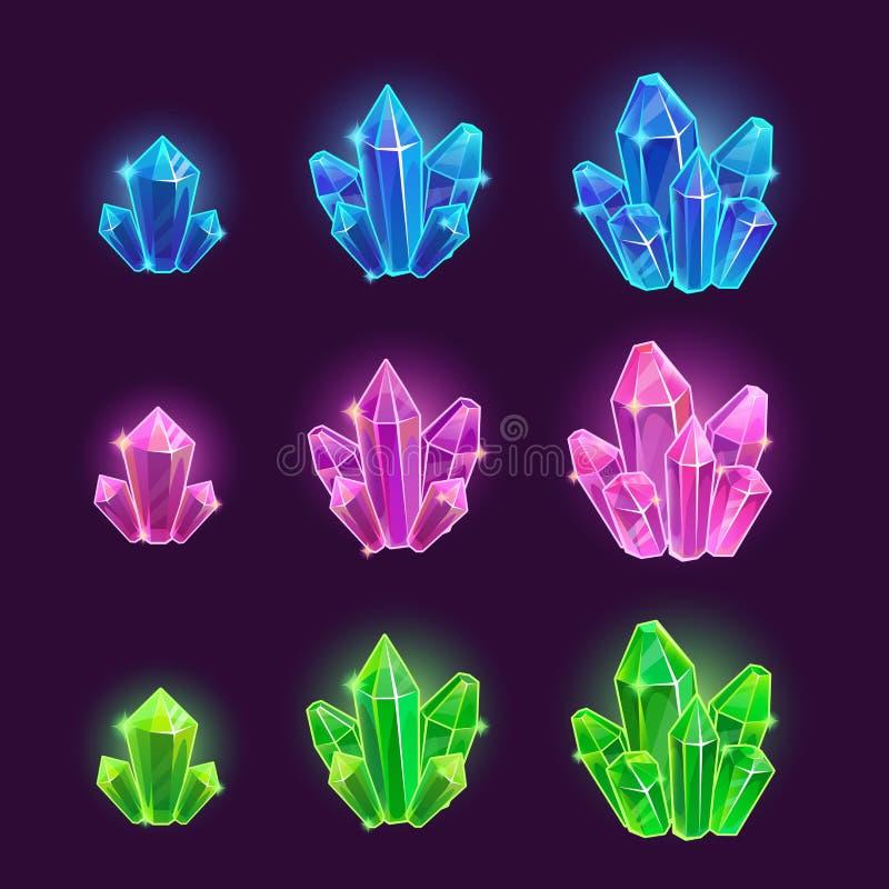 Установленные кристаллы волшебного шаржа сияющие бесплатная иллюстрация