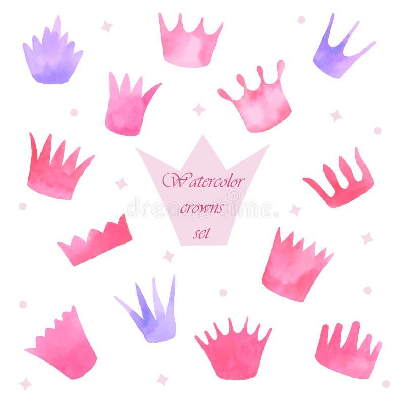 Установленные кроны принцессы акварели иллюстрация вектора