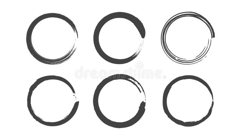 Установленные круги Grunge круглые Иллюстрация краски щетки иллюстрация вектора