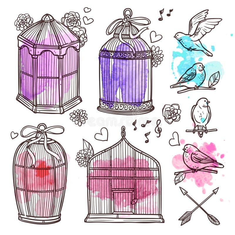 Установленные клетки и птицы бесплатная иллюстрация