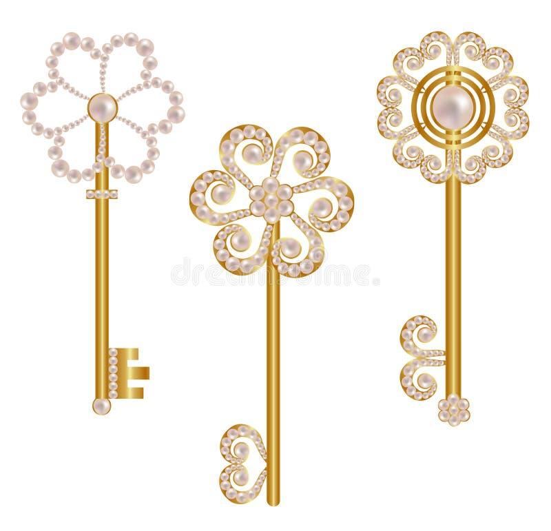 установленные ключи иллюстрации золота иллюстрация штока
