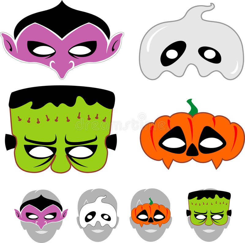 Установленные маски хеллоуина детей бесплатная иллюстрация
