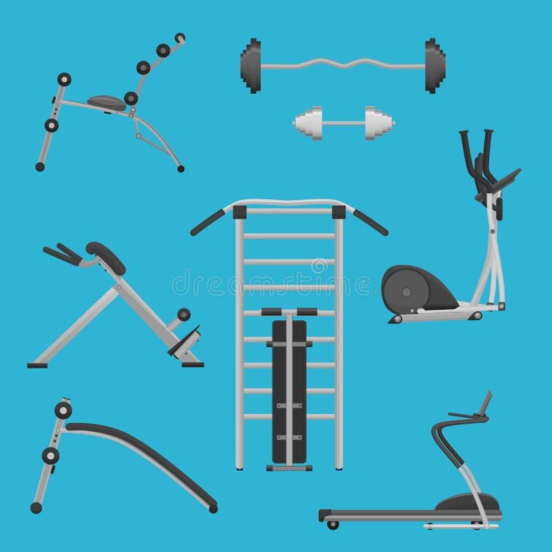 Установленные машины оборудования тренировки спортзала фитнеса спорта иллюстрация штока