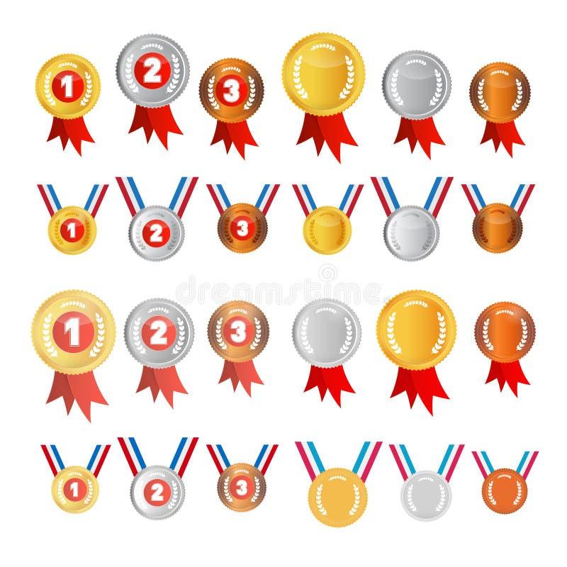 Установленные медали вектора иллюстрация вектора