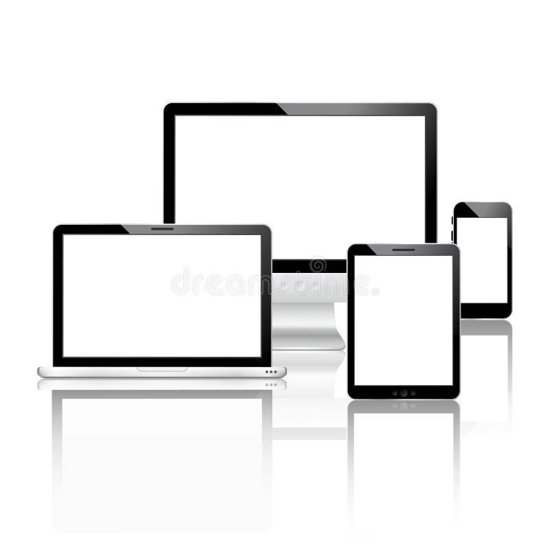 Установленные мобильные устройства иллюстрация штока
