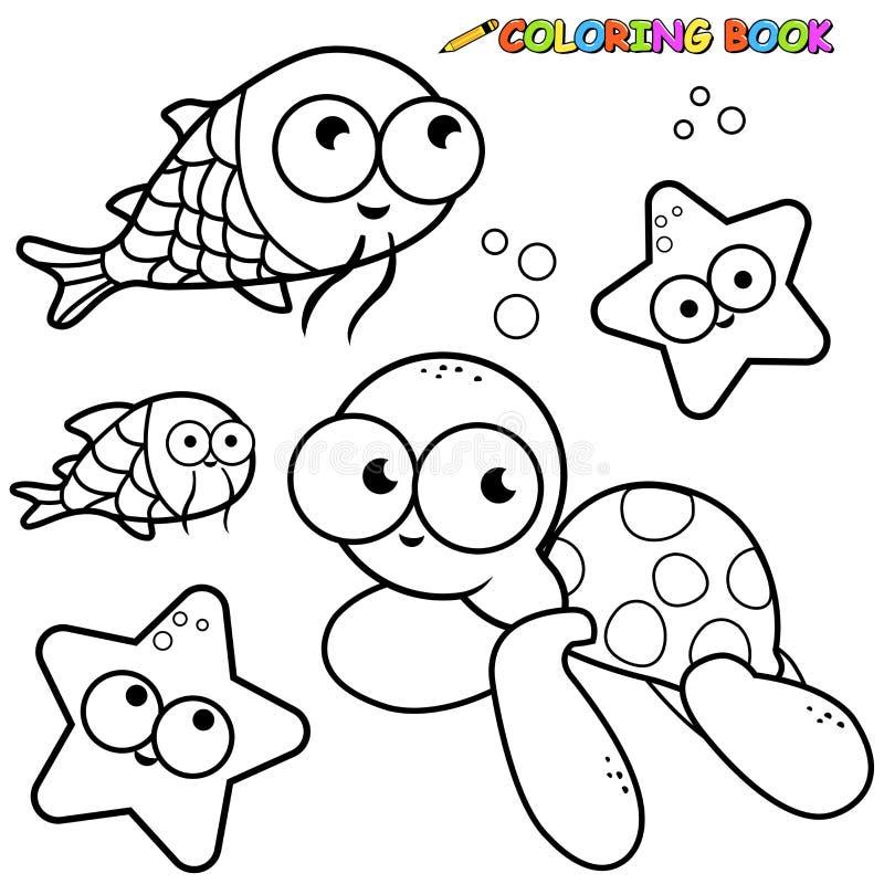 Установленные морские животные книжка-раскраски иллюстрация штока