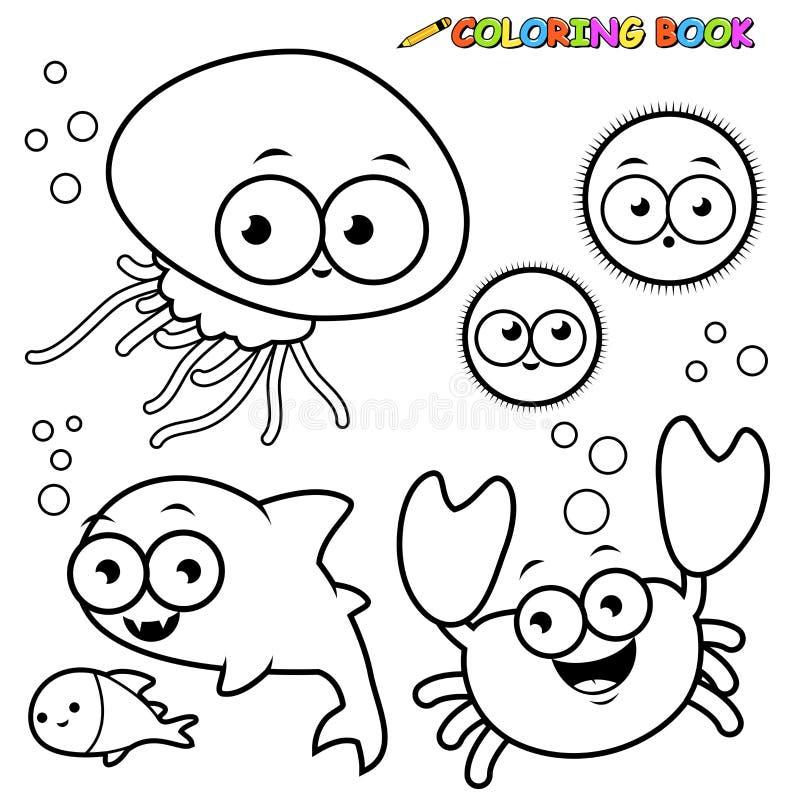 Установленные морские животные книжка-раскраски бесплатная иллюстрация