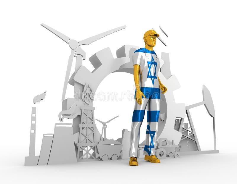 Установленные молодой человек и промышленные равновеликие значки бесплатная иллюстрация
