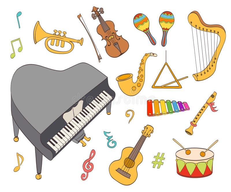 Установленные музыкальные инструменты шаржа иллюстрация вектора