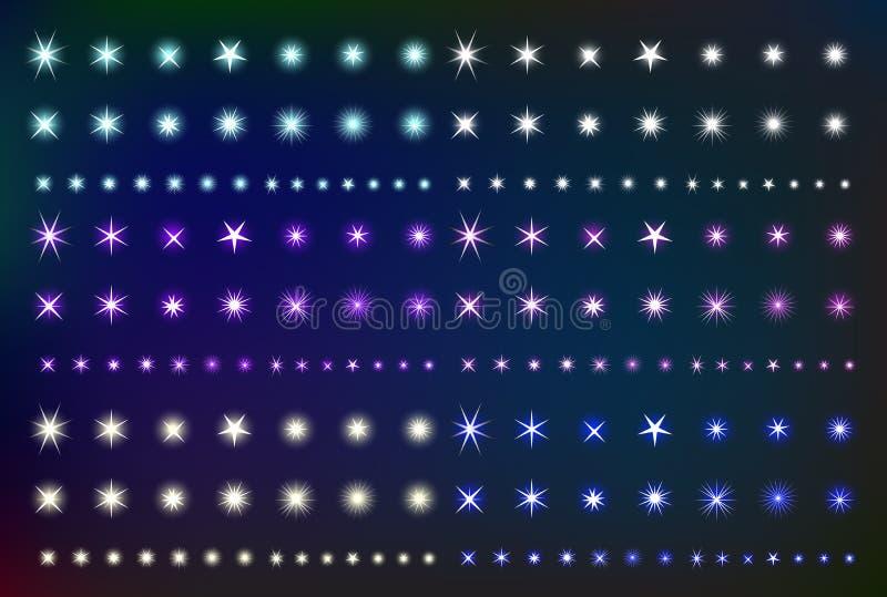 Установленные накаляя звезды светового эффекта Собрание различных сияющих искр форм иллюстрация вектора