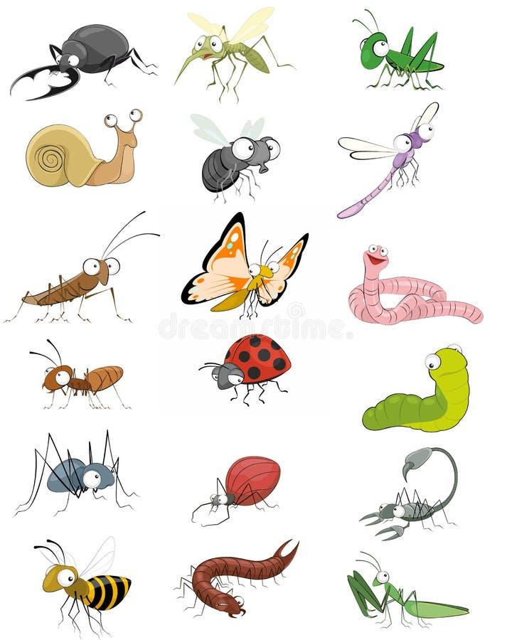 Установленные насекомые значков иллюстрация штока