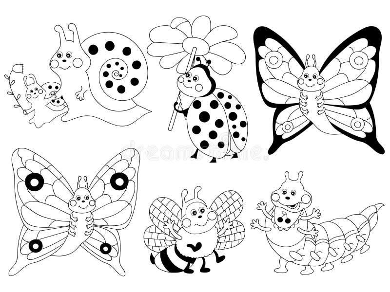 Установленные насекомые, насекомые Clipart шаржа вектора иллюстрация штока