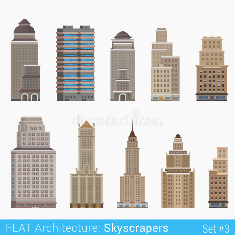 Установленные небоскребы зданий плоского стиля современные классические бесплатная иллюстрация