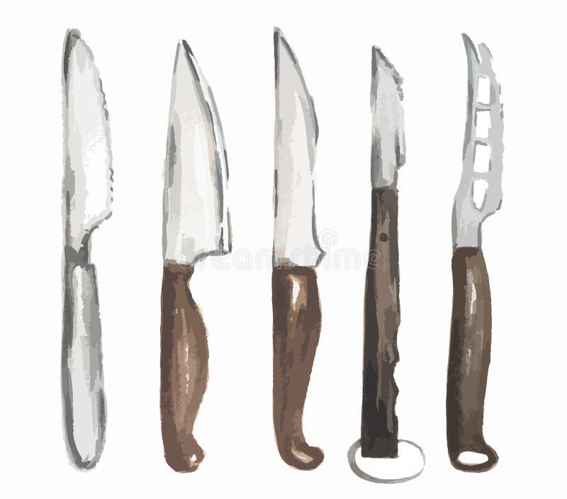 Установленные ножи акварели иллюстрация вектора