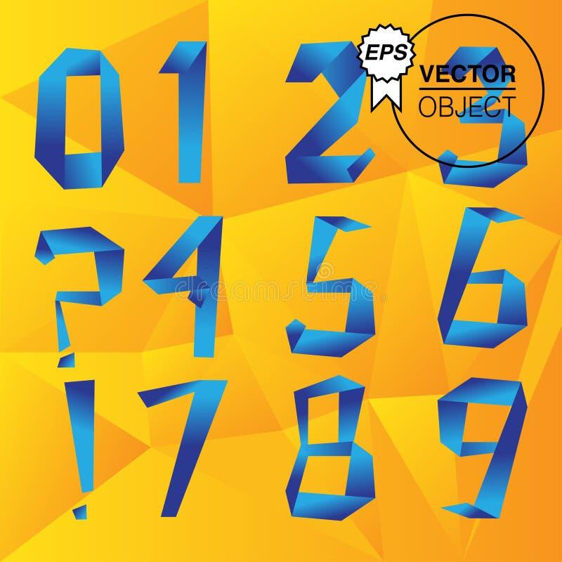 Установленные номера, вектор стиля Origami стоковая фотография rf