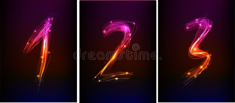 Установленные номера сделанными неонового света иллюстрация штока