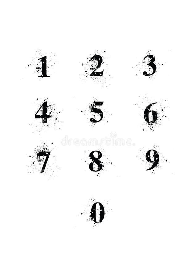 Установленные номера шрифта помаркой иллюстрация вектора