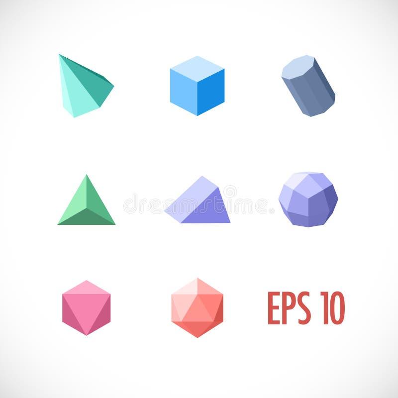 Установленные объекты полигона 3d бесплатная иллюстрация