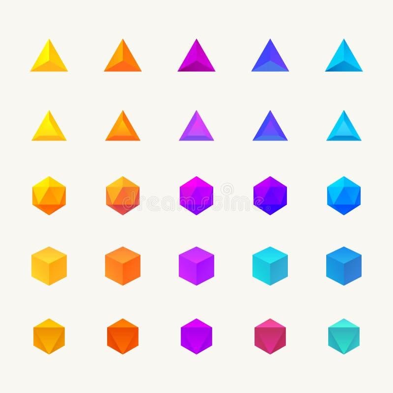 Установленные объекты полигона 3d иллюстрация штока