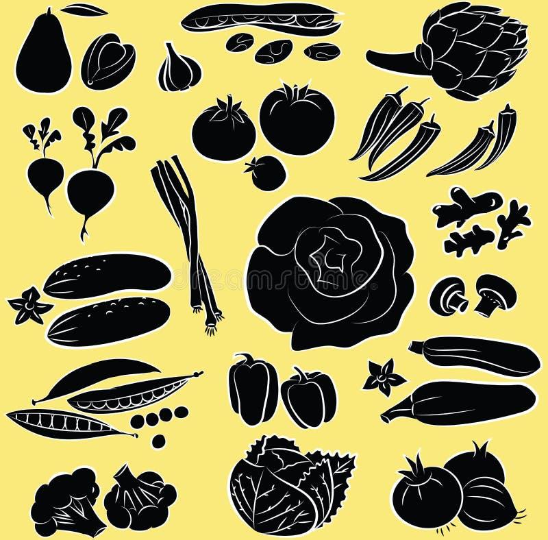Установленные овощи иллюстрация вектора