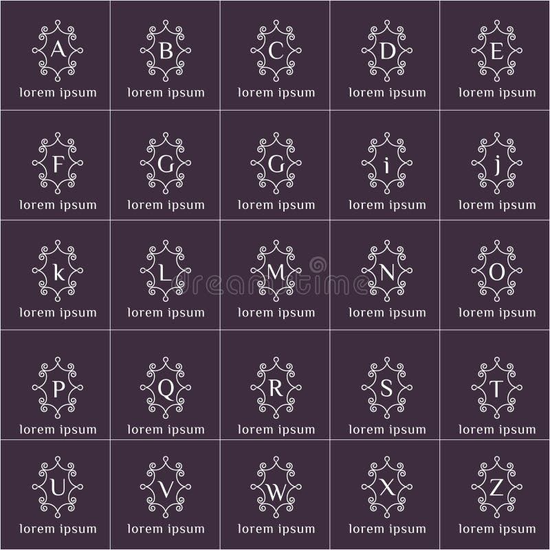 Установленные логотипы вектора рамки формы флористических орнаментов иллюстрация вектора