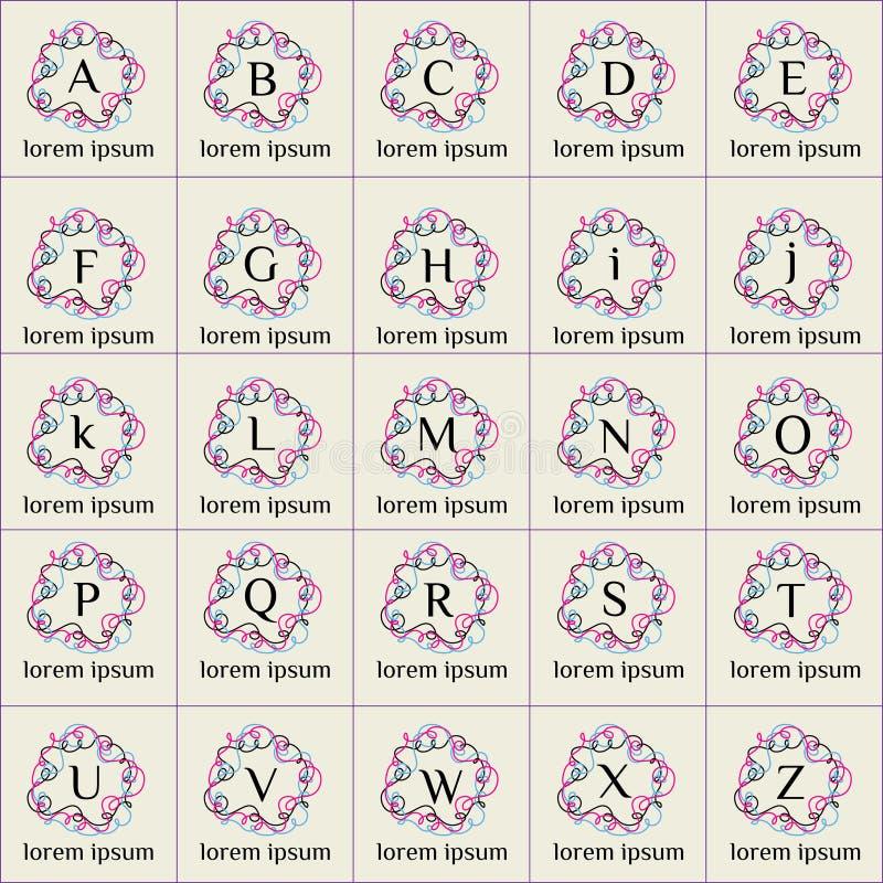 Установленные логотипы вектора рамки формы флористических орнаментов иллюстрация штока