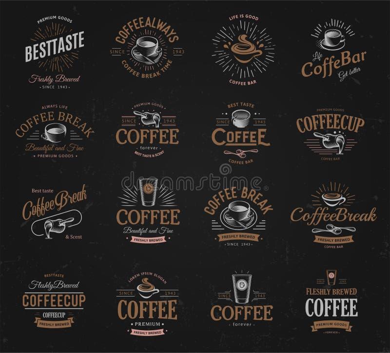 Установленные логотипы кофе винтажные Свеже заваренный логотип питья кофеина темный Наградные товары latte и дело эспрессо ретро бесплатная иллюстрация