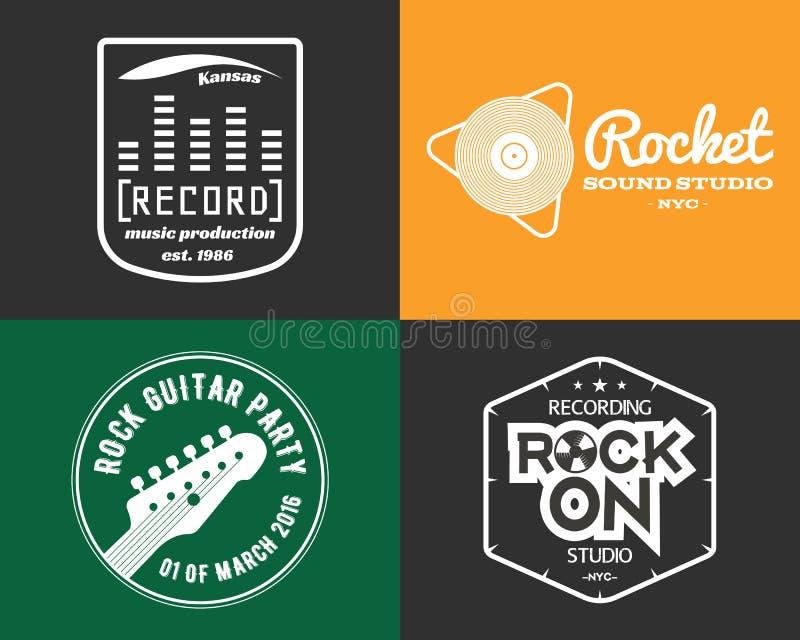 Установленные логотипы студии продукции музыки вектора музыкально бесплатная иллюстрация