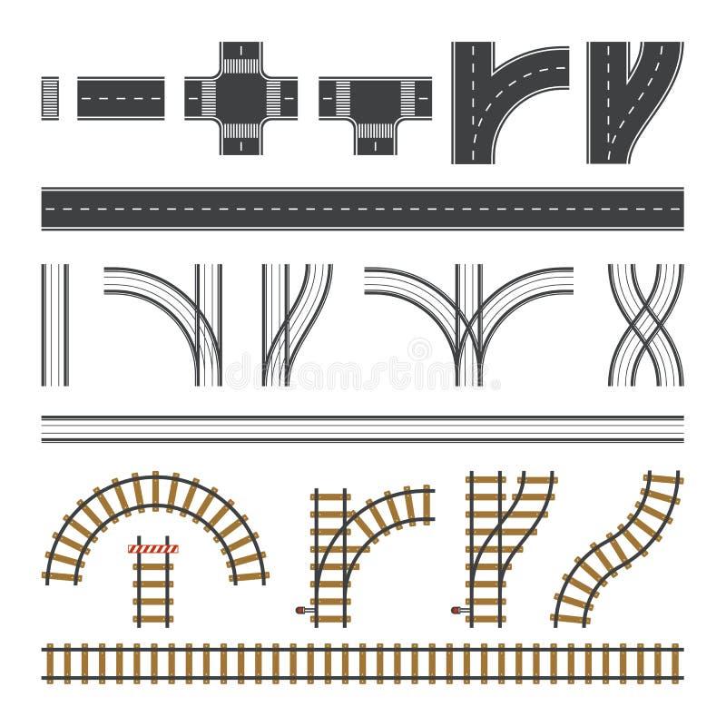 Установленные дороги конструктора Плоские элементы дороги Создайте ваши собственные город и железную дорогу Connectable элементы  бесплатная иллюстрация