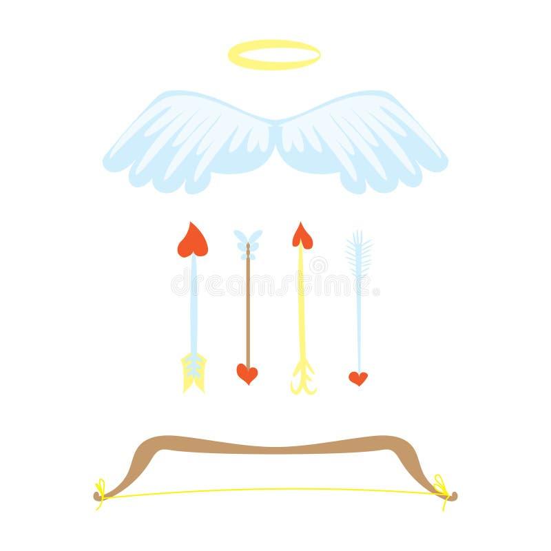 Установленные оружия любов шаржа Смычок, крыла, nimbus и стрелки с сердцем Вещество купидонов Комплект дня валентинок романтичный иллюстрация вектора