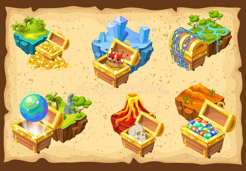Установленные острова игры и спрятанные сокровища иллюстрация штока