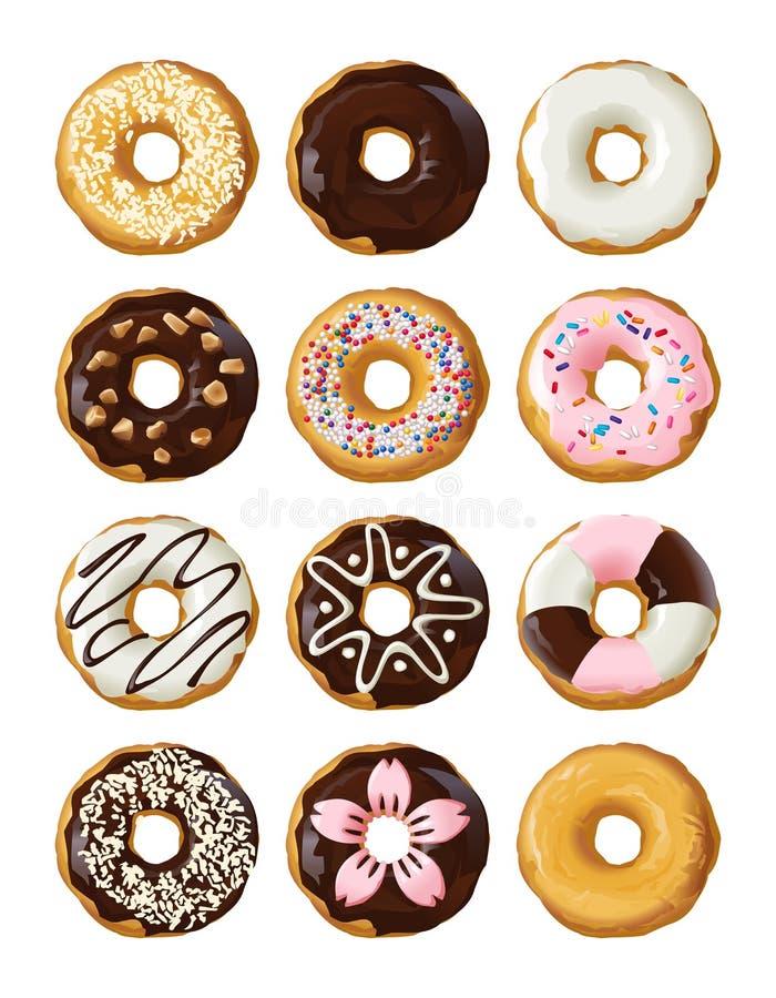Установленные очень вкусные donuts в поливе иллюстрация штока