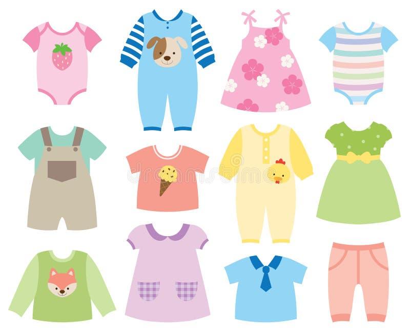 установленные одежды младенца иллюстрация вектора