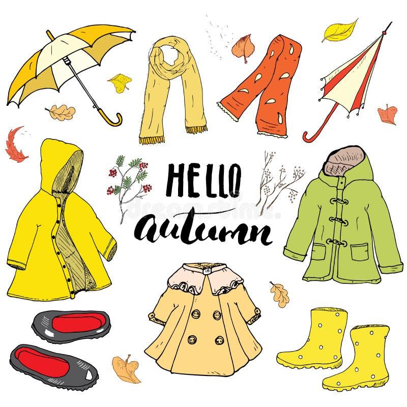 Установленные одежды сезона осени Doodles и иллюстрация вектора литерности нарисованные рукой иллюстрация вектора