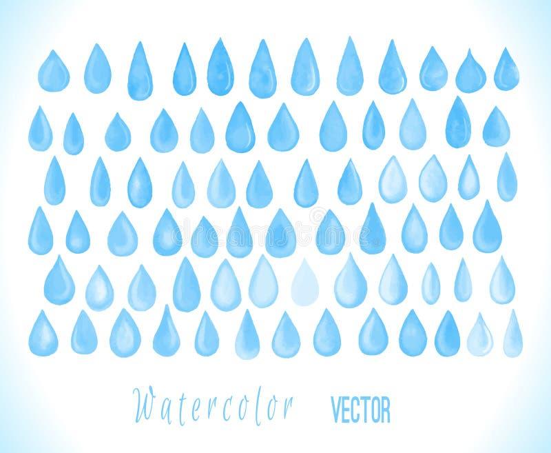 Установленные падения красочного вектора акварели голубые бесплатная иллюстрация
