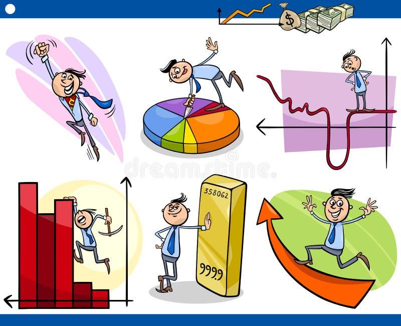 Установленные персонажи из мультфильма бизнесменов иллюстрация вектора