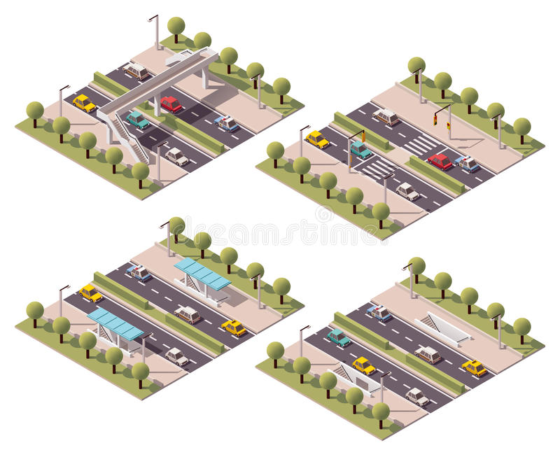 Установленные пешеходные переходы вектора равновеликие иллюстрация штока