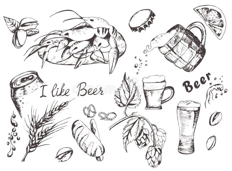 Установленные пиво и заедки стоковое изображение rf