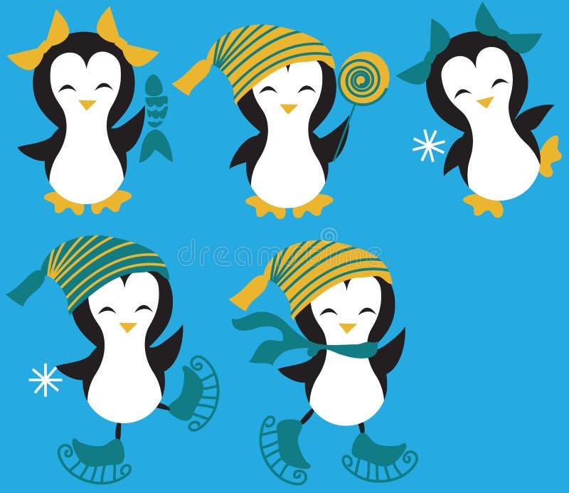 установленные пингвины иллюстрация вектора