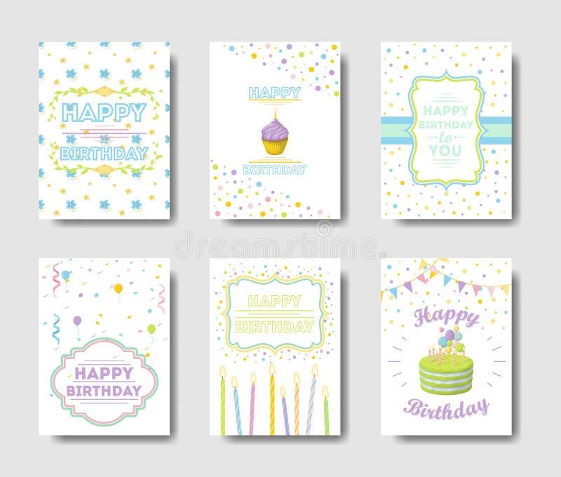 Установленные поздравительые открытки ко дню рождения иллюстрация штока