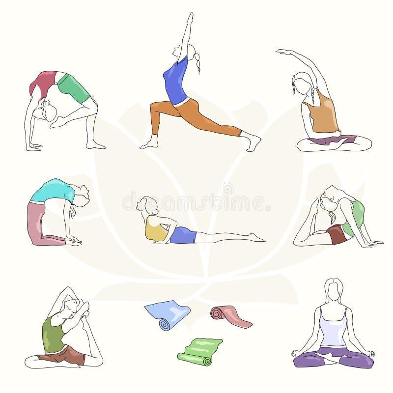Установленные представления йоги красочные Линия иллюстрация Позиции женщины иллюстрация штока