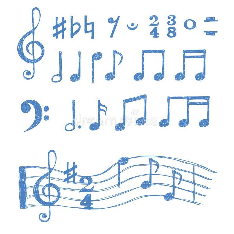 установленные примечания нот Собрание символов музыки эскиза иллюстрация штока