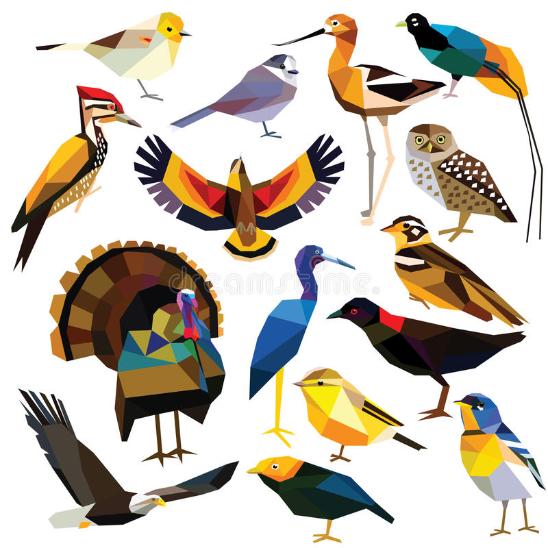 установленные птицы иллюстрация штока